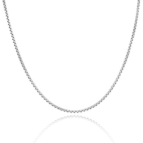 925 Sterling Silver .8MM Box Chain Italian made Necklace 16