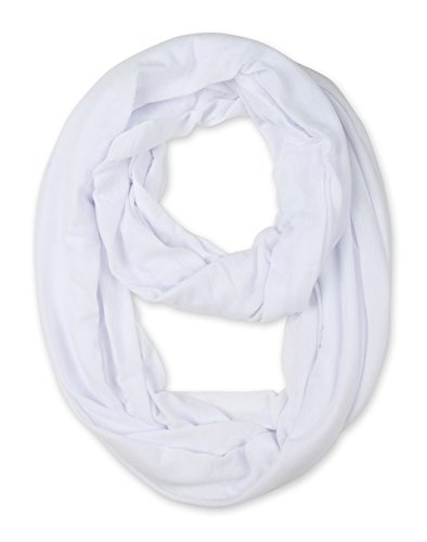 corciova Light Weight Infinity Scarf with Solid Colors White