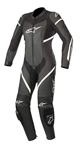 Stella Kira Leater One Piece Leather Motorcycle Race Suit (42 EE, Black White)
