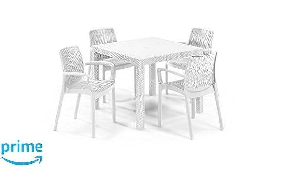 Keter - Set de mobiliario de jardín Quartet/Bali (mesa + 4 ...