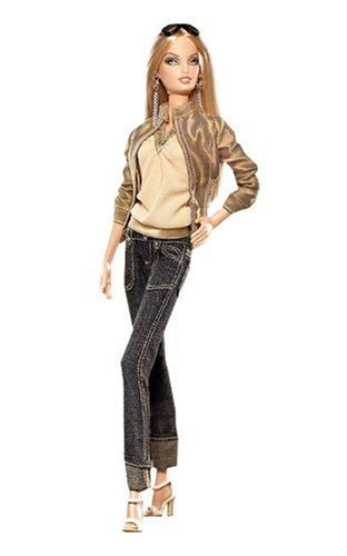 Mattel Year 2006 Barbie Pink Label Collector Series 12 Inch Doll - Best Models on Location: Barcelona with Barbie Doll, Bathing Suit, Jeans, Jacket, Silky Blouse, Ruffly Dress, Purse, 3 Pairs of Shoes, 2 Pairs of Sunglasses, Earrings, Doll Stand, (Barcelona Jean)
