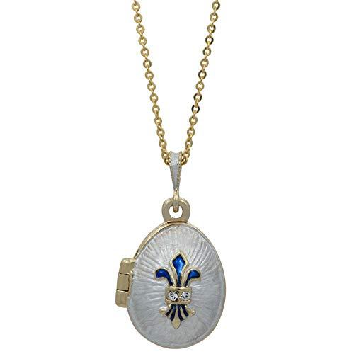(BestPysanky White Enamel Fleur de Lis Royal Egg Pendant Necklace 20 Inches)