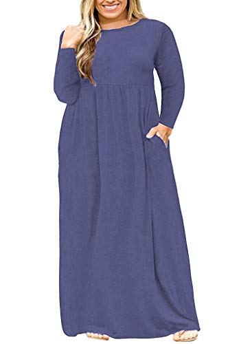 Dress Long Size Shirt Swing Pockets Plus 02 Purle Sleeve Women's Dress with Grey T Tunic Maxi POSESHE fqC80xwE