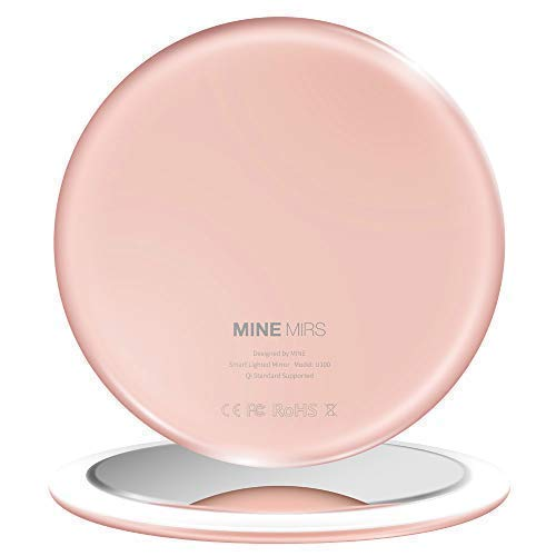 MINE MIRS Smart Lighted Compact Mirror with Lights, Dimmable Brightness and Color Temperature, LED Travel Makeup Mirror, Pocket Small Mirror for Purses