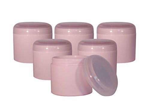 (WM (Pack of 6) 4 oz. Pink PP Double Wall Jar w/Natural Dome Lid. Used in Travel, DIY Facial Masks, Scrubs, Moisturizer, Shampoo, Lotion, Cosmetics, Aromatherapy (4 oz,)