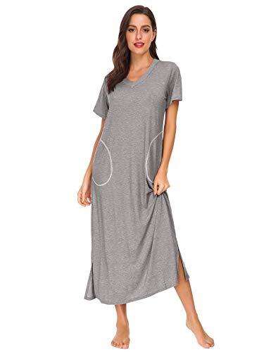 LOMON Women's Sleepshirt Short Sleeve Night Dress Long Sleepwear Women V-Neck Nightgown with Pocket(Gray, -