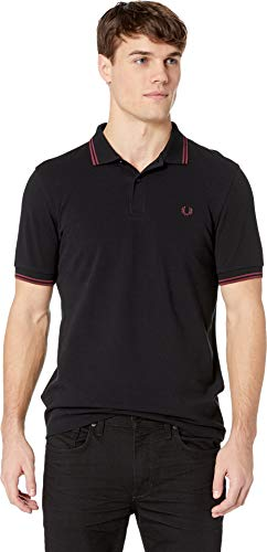 Fred Perry Men's Twin Tipped Shirt, Black/Crushed Berry, - Pique Fred Black Perry