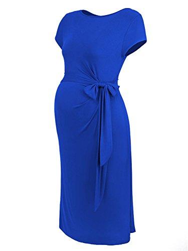 Ecavus Womens Side Bow Tie Wrap Round Neckline Cap SleeveKnee LengthFront Fold Side GatheredMaternity Dress (Tie Front Maternity Dress)