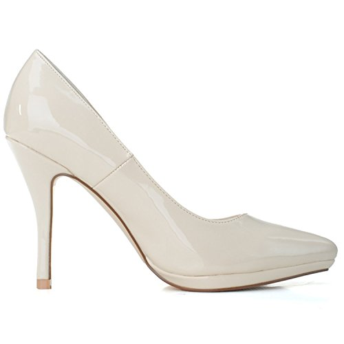 Clearbridal Women's Wedding Bridal Shoes Pointed Toe PU High Heel for Evening Prom Party Bridesmaid ZXF0255-23 apricot QltKV