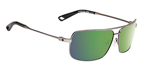 Spy Optic Leo Polarized Aviator Sunglasses, Gunmetal/Happy Bronze Polar/Green Spectra, 1.5 (Spy Optic Metal)