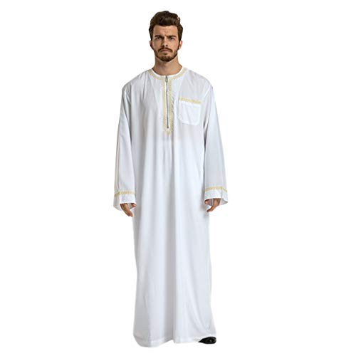 QueenMM 🍀 Men's Long Sleeve Embroidered Comfort Kaftan Long Robes Solid Saudi Arab Thobe Islamic Muslim Dubai Robe White from QueenMM Clothing