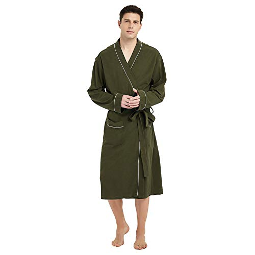 U2SKIIN Mens Cotton Robe Lightweight Knit Bathrobe Olive Green