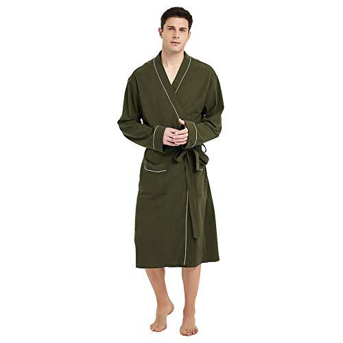 - U2SKIIN Mens Cotton Robe Lightweight Knit Bathrobe Olive Green