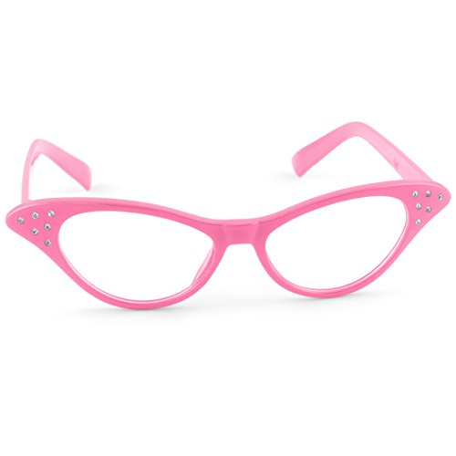 Hip Hop 50s Shop Kids Cat Eye Glasses (Child/Youth, Hot (50s Pink Sock)