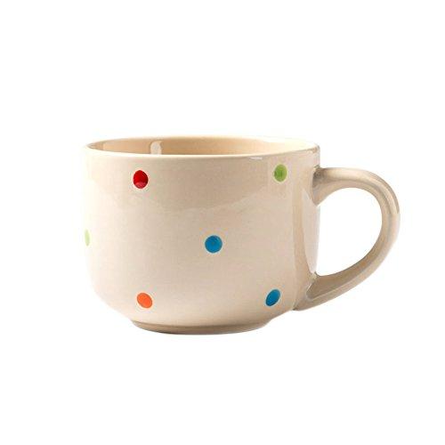 CHOOLD Large Ceramic Coffee Mug Polka Dot Milk Cup Tea Cup Jumbo Mugs Soup Bowl with Handle for Couple 15oz(Colorful) (Ceramic Jumbo Mug)
