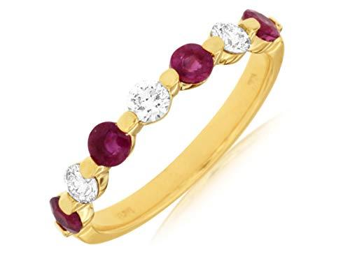 Milano Jewelers .93CT Diamond & AAA Ruby 14KT Yellow Gold 7 Stone Shared Prong Anniversary Ring ()