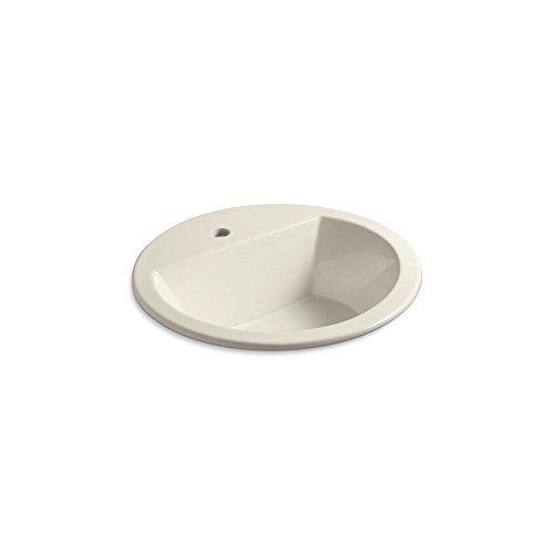 KOHLER K-2714-1-47 Bryant  Round Self-Rimming Bathroom Sink with Single-Hole Faucet Drilling, Almond ()