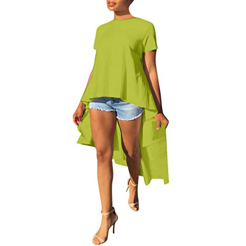 Willow SWomensn Fashion Wings O-Neck Short Sleeve Solid Irregular Hem Pullover Wild Tutu Top Blouse Green
