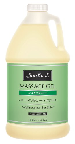 Bon Vital' Naturale Massage Gel Made with Natural Ingredients for Earth-Friendly & Relaxing Massage, Hypoallergenic Massage Gel for Sensitive Skin, Moisturizer Absorbs Like Lotion, 1/2 Gallon Bottle (Massage Lotion Naturale Vital Bon)
