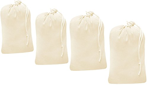 (Heavy duty cotton canvas Laundry Bag, set of 4 bag Natural color-24x36