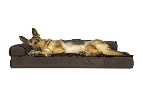 Furhaven Pet Dog Bed | Deluxe Orthopedic Plush Faux Fur & Velvet L Shaped Corner Chaise Lounge Sofa-Style Living Room Couch Pet Bed for Dogs & Cats, Sable Brown, Jumbo ()