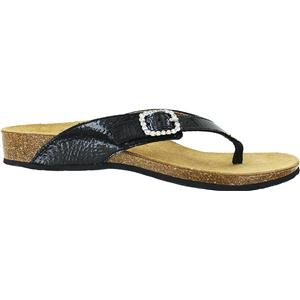 Vionic Isabeal Womens Toe-post Orthotic Sandal Black Patent Snake - 9 by Vionic