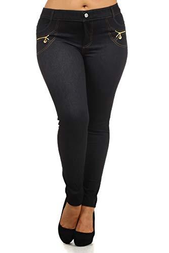 Yelete 827JN060P Black L/XL Plus Size Jeggings (Zipper Pocket Jeans)