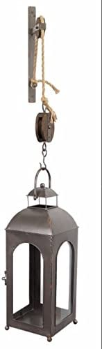 Melrose International 44 Pulley Mounted Lantern with Bracket – Metal Wood, 11 x 9.5 x 23 , Antique Grey