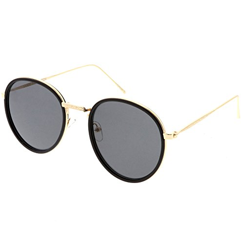 sunglassLA - Modern Round Sunglasses Engraved Slim Metal Arms Neutral Color Flat Lens (Black Gold / (Trimmed Glass)