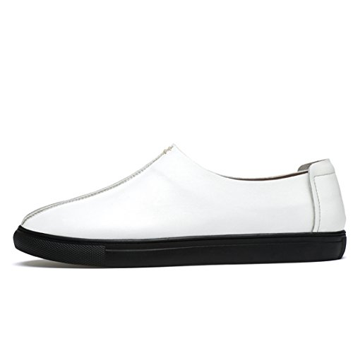 Minitoo Boys Mens Cap-Toe Simple Lightweight Casual Loafers Shoes White