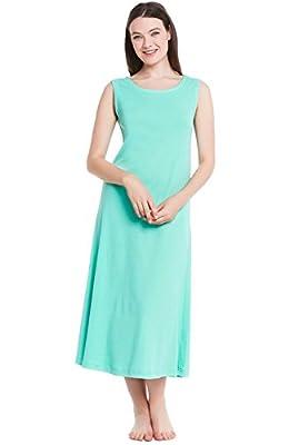 Del Rossa Women's Cotton Knit Nightgown, Long Sleeveless Sleep Dress