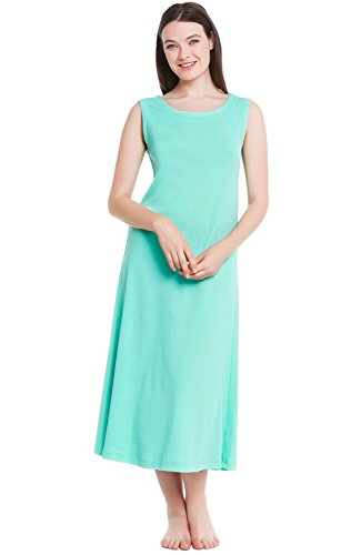 Alexander Del Rossa Womens Cotton Knit Nightgown, Long Sleeveless Sleep Dress