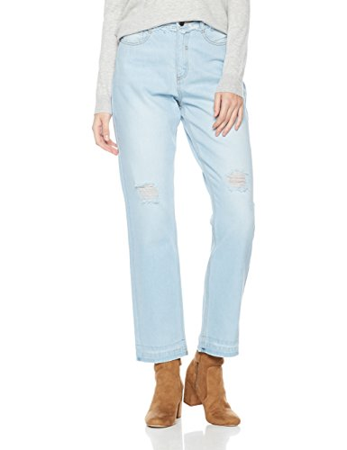 Lily Parker Women's High Waist Destroyed Ripped Straight-Leg Jean 27 Light Blue -