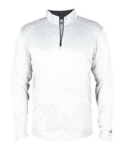 White Adult 2XL Long Sleeve 1/4 Zip Pullover Wicking Sports Windbreaker Jacket