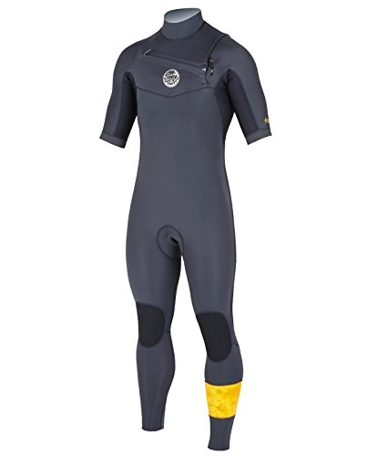 Rip Curl Aggro Short Sleeve 22 Chest Zip Surfing Wetsuit, Black, Medium/Small (Curl Short Wetsuit Sleeve Rip)