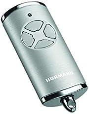 Hörmann Handzender HSE 4 BS (frequentie 868 MHz, hoogglans zilver, garagedeuraandrijving met chromen doppen, batterijen, afmetingen 28x70x14 mm, incl. sleutelring) 4511581
