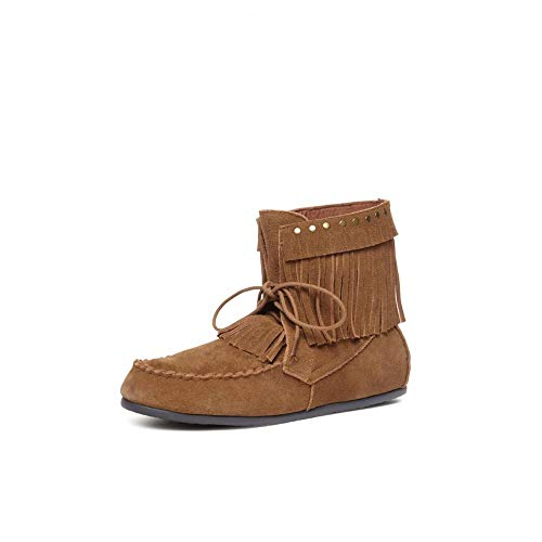 Yellow Box Womens Once Leather Closed Toe Ankle Fashion, Chestnut, Size 9.0