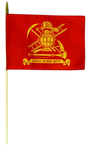 Flags Unlimited Fireman Firefighter Stick Flag 12x18 Polyester Flags on Staff - Pack of 12 - Made in USA from