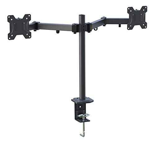(Dual Monitor Stand-Double Articulating Arm Monitor Desk Mount-Fits Most 13-27 Inch LCD LED Monitors with C Clamp, Grommet Mounting Base 17.6 LBS by EVERVIEW)