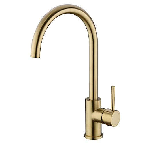 TRUSTMI Brushed Gold Brass 360 Degree Swivel Hot& Cold Mixer Single Handle Kitchen Sink Faucet