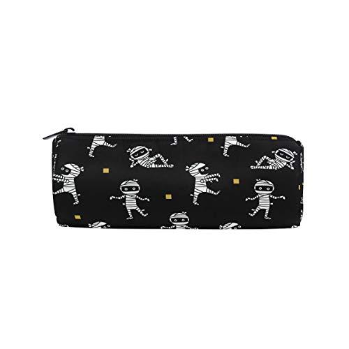 DERLONKAJE Pencil Bag Halloween Mummies, Pencil Case Pen Zipper Bag Pouch Holder Makeup Brush Bag for School Work Office -