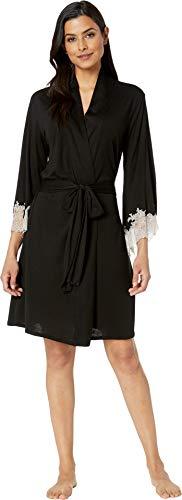 (Natori Women's Luxe Shangri-La Wrap Black/Cocoon Lace Small )