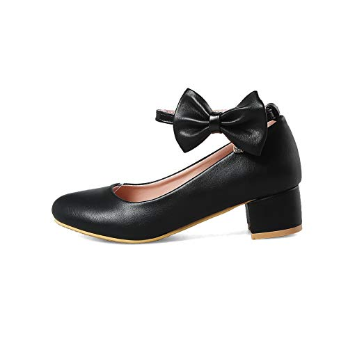 Urethane Black Shoes APL10488 Bows Womens BalaMasa Solid Casual Pumps q1HHZw