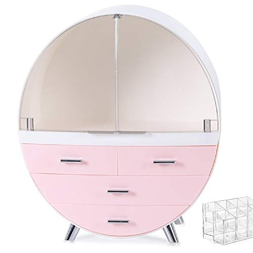 VOOADA 13.4''x15.7'' Makeup Organizer Large Capacity Waterproof and Dustproof Cosmetic Display Cases Desktop Beauty Storage Drawer Lipstick Skin Care Shelf (L, Pink)