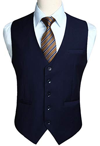 (HISDERN Men's Suit Vest Business Formal Dress Waistcoat Vest with 3 Pockets for Suit or Tuxedo Navy Blue )