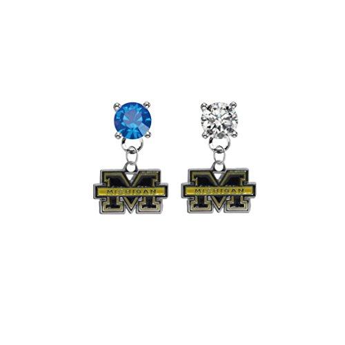 Michigan Wolverines Blue & Clear Crystal Stud Post Dangle Earrings