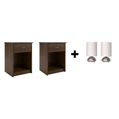 Light Northfield One (Set of 2 Nightstand MDF End Tables Pair Bedroom Table Furniture Multiple Colors (Northfield Alder with Lamp set))