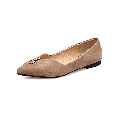 Xue Qiqi Zapatos Planos y versátil de Punta Plana con Solo Zapatos Femeninos de Satén con luz Baja Zapatos de Mujer Beige
