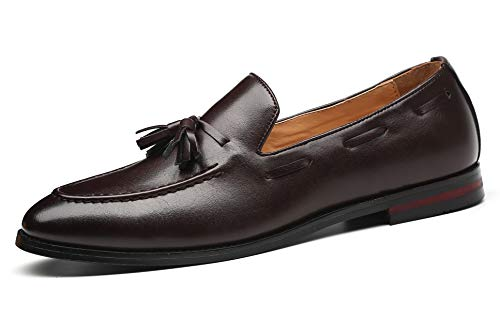 Santimon Mens Fashion Loafers Leather Casual Tassel Slip on Driving Flats Dress Shoes Brown 12 D(M) US