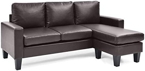 Glory Furniture Sofa Chaise, Cappuccino Faux Leather